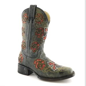 CORRAL Black Distressed Cross Floral Boots 6.5